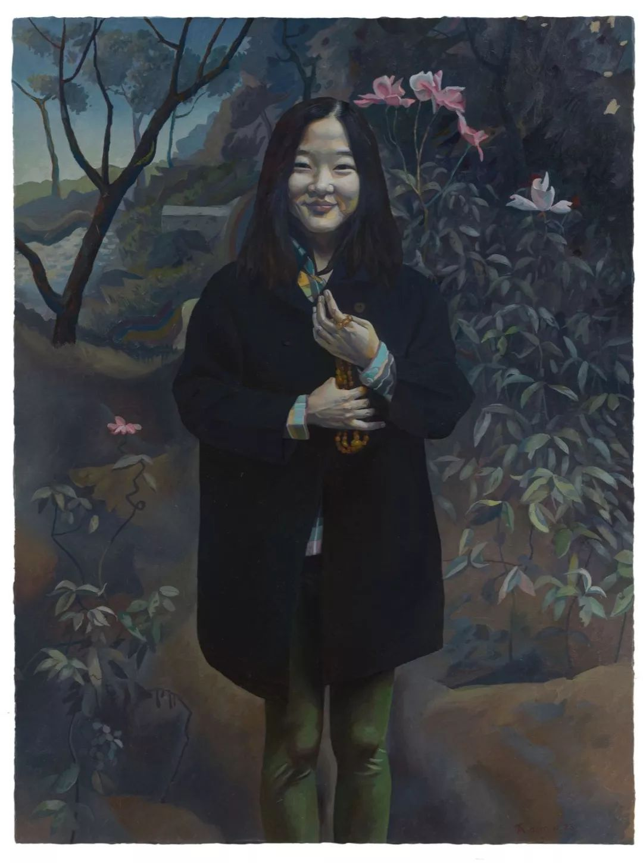 王一凡,《树林中的吴小可》,2017年,布面油画  图片由星空间提供