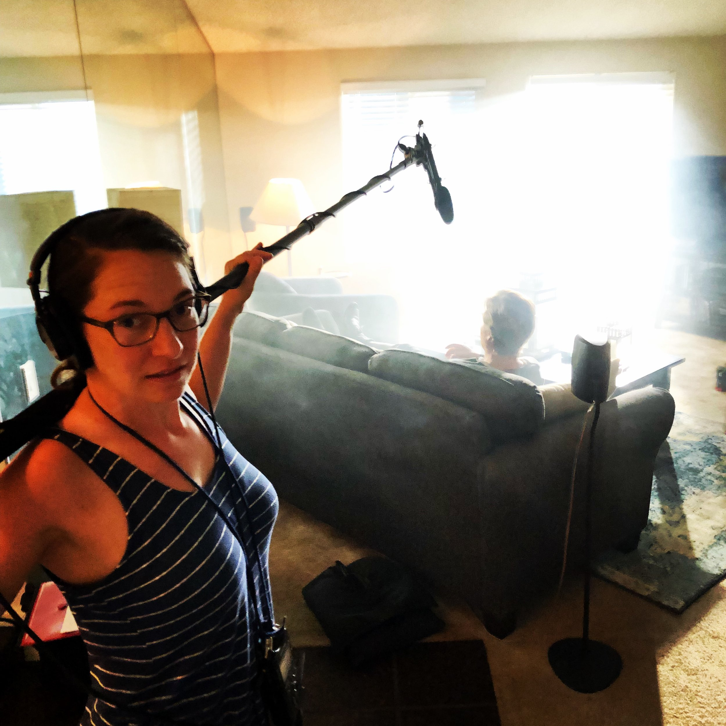 Holding the boom mic, good thing I work out.