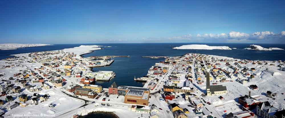 Aerial view of Vardø town. Town hall and cultural centre in the center. Behind is Vardø harbour. To the right is Reinøya and Hornøya.