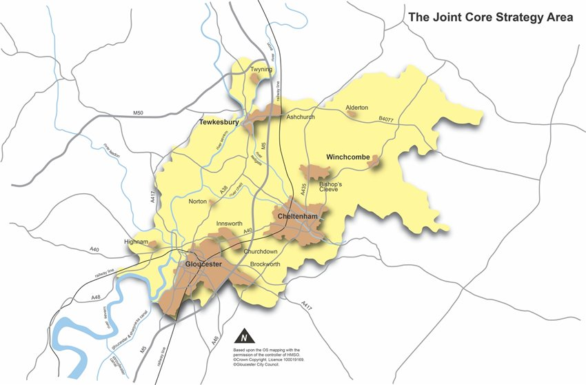 The Joint Core Strategy area map