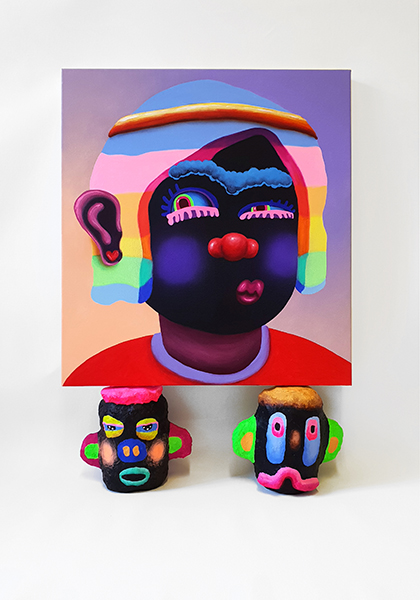 Prince of Dorkness, 55 x 60cm, acrylic and airbrush on canvas, on 2 heads, 2018.jpg
