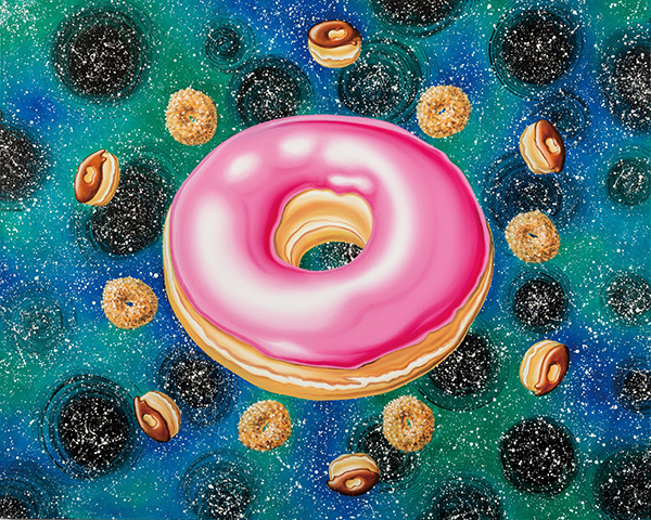 43. Orbital Pink Frosted, 2015 ⓒ Kenny Scharf 2018, Image courtesy the artist and Honor Fraser Gallery, Photo Joshua WhiteJWPictures.com (Oil on linen, 122 x 152.4cm).jpg