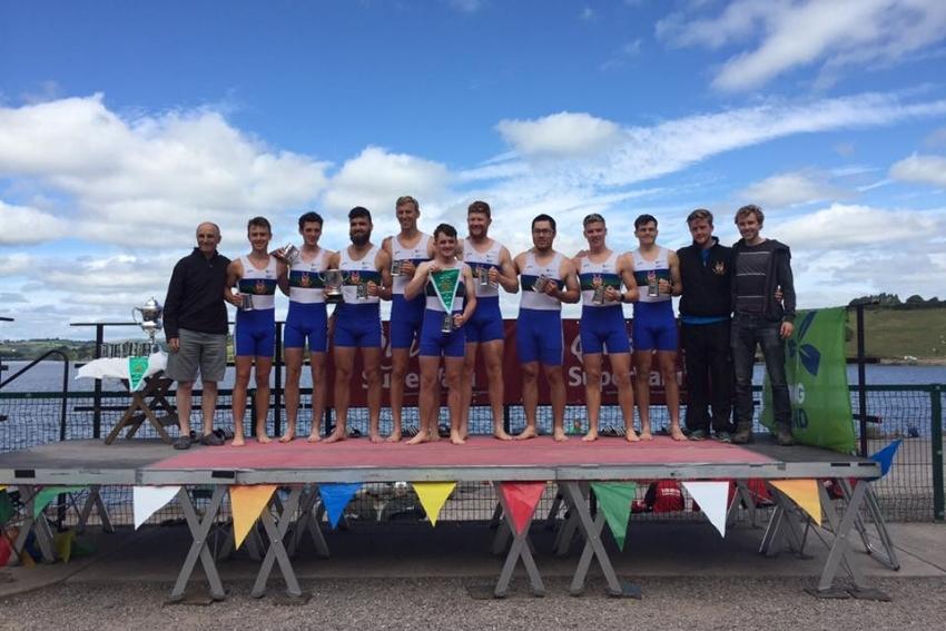 Queen's University Belfast Boat Club Mens Novice 8+ -  Champions of Ireland 2017