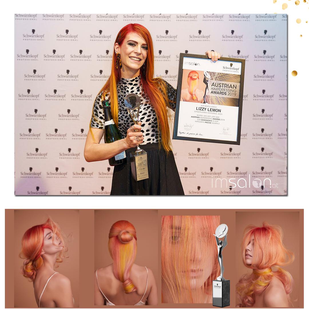 """- Die Auszeichnung der besten Friseurin in der Editors Choice- Kategorie """"Presse"""" ging an Lizzy mit ihrer Farbkollektion """"Rhodochrosite""""."""