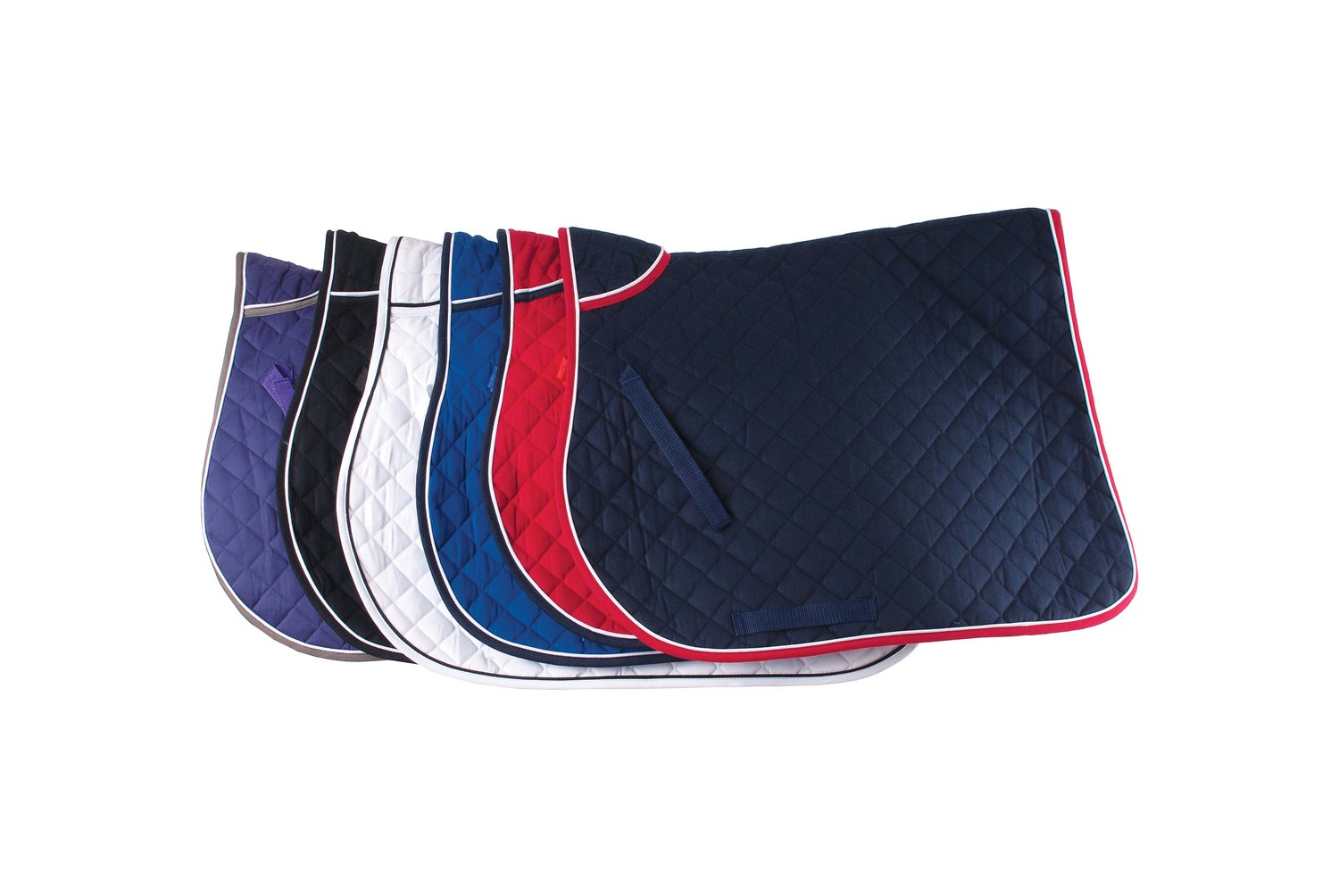 piped edge saddle cloth - £27.50 including 1 embroideryAvailable in Cob or FullAvailable in 6 colours (shown)
