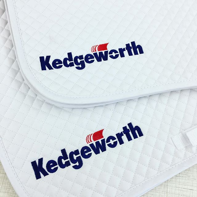 Hy saddlecloths embroidered for business Kedgeworth with their striking blue and red logo 🔵🔴 We stock these gorgeous saddle cloths in close contact and dressage styles 👌🏼