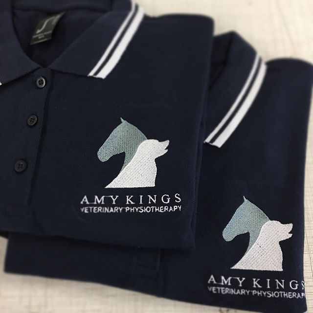 Sols polo shirts embroidered for Amy Kings Vet Physio 🐴🐶 Loving Amy's choice of grey and white logo on a navy and white contrast polo 👌🏼