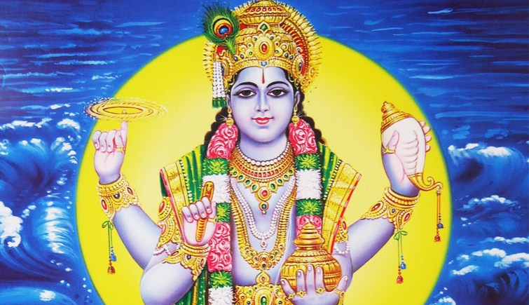 Dhanvantari, the god of Ayurveda. According to legend, the gods and the demons sought the elixir of life,  amrita,  by churning the milky ocean and Dhanvantari rose out of the waters bearing a cup filled with the elixir. Ayurveda, the traditional system of medicine in India, is attributed to him.