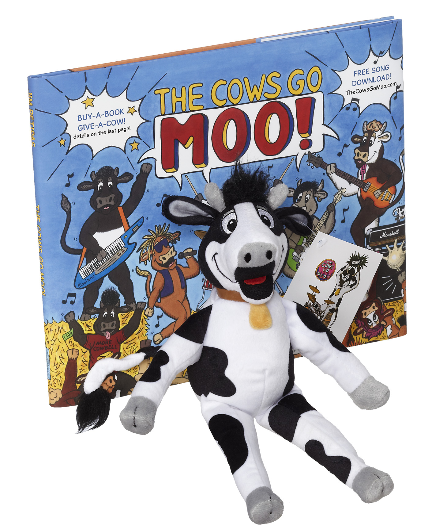 """Beaker"" the Cow Plushie is available in the Moo Merch Store!"