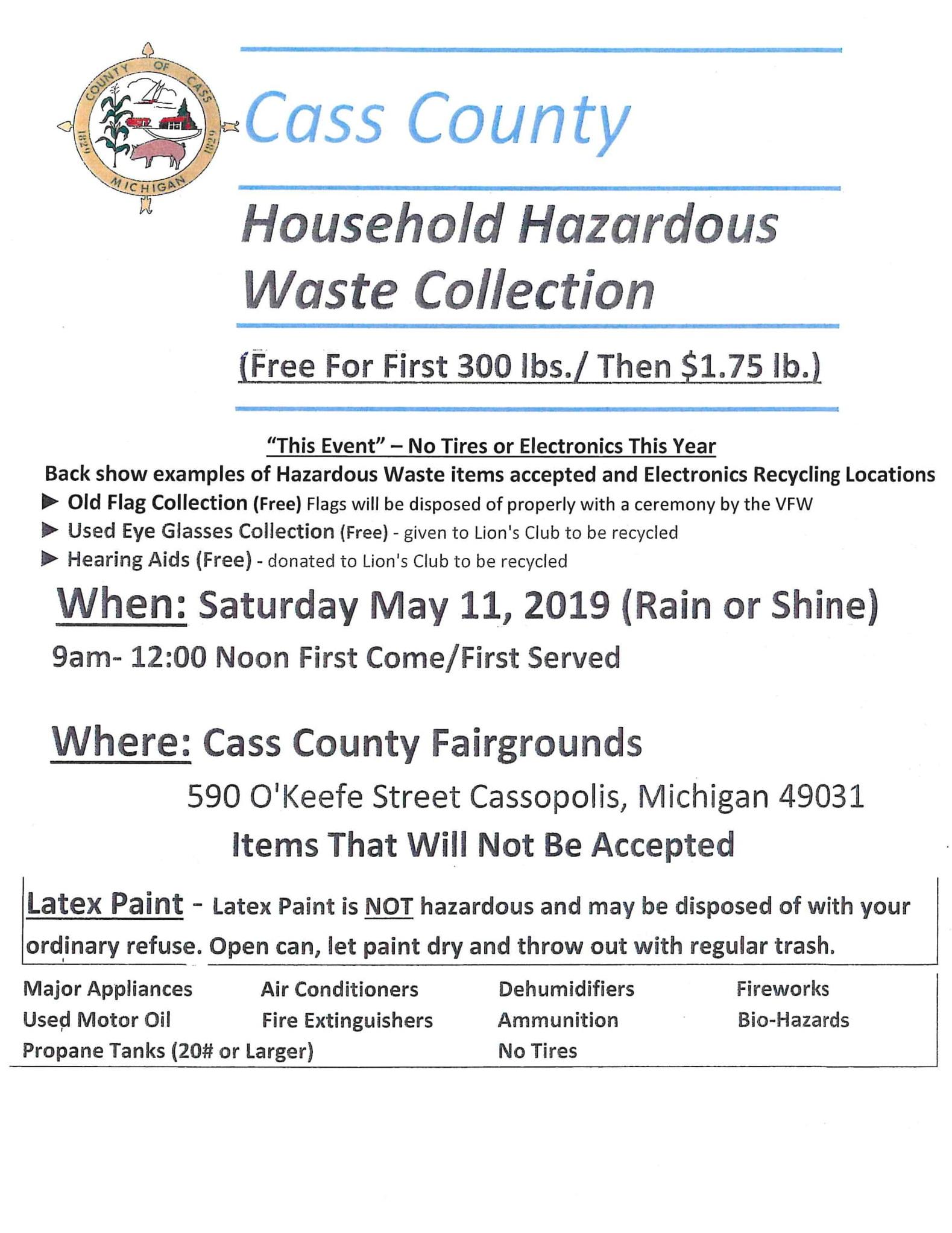 Cass County Houshold Hazardous Waste Collection — Village of Edwardsburg