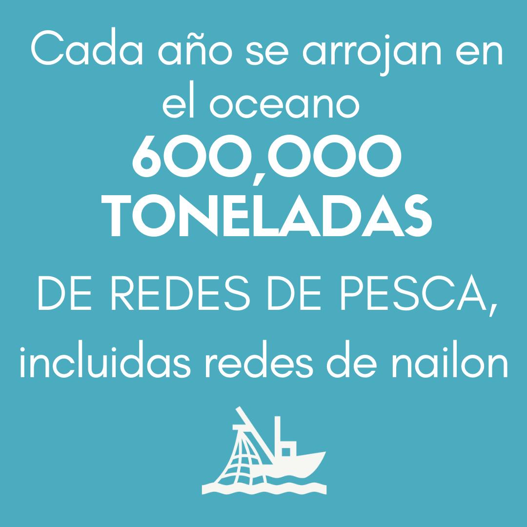 > Cada año se arrojan a los océanos 600 000 TONELADAS DE INSTRUMENTAL DE PESCA, incluidas las redes de nailon.