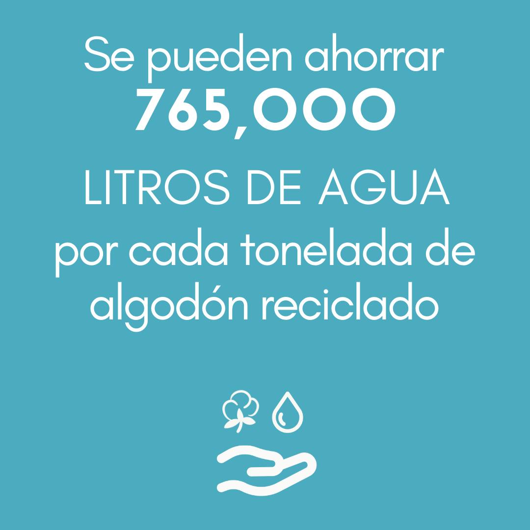 >Se pueden ahorrar 765 000 LITROS DE AGUA por cada tonelada de algodón reciclado.