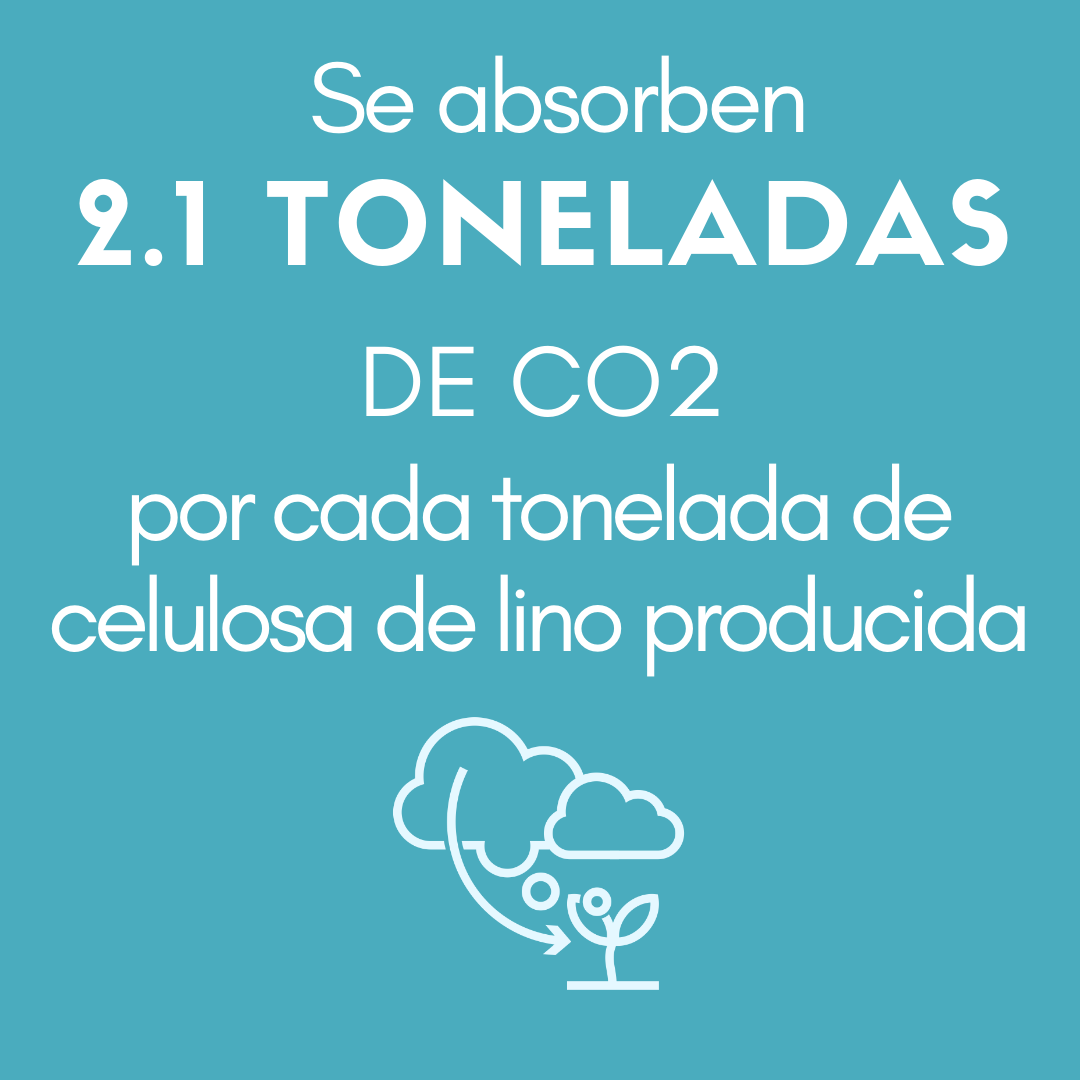 >Se absorben HASTA 2.1 TONELADAS DE CO2  por cada tonelada de celulosa de lino producida.