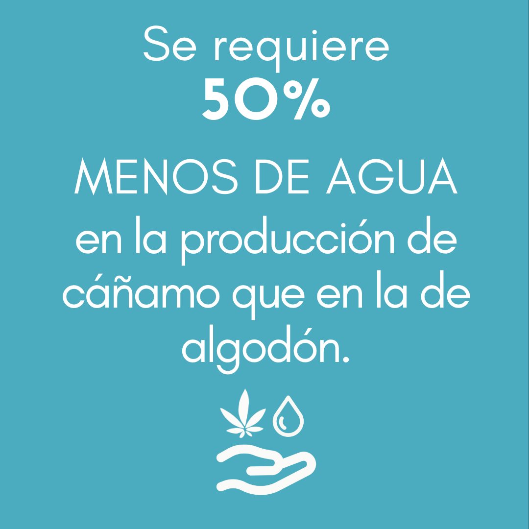>Se requiere un 50 % MENOS DE AGUA en la producción de cáñamo que en la de algodón.