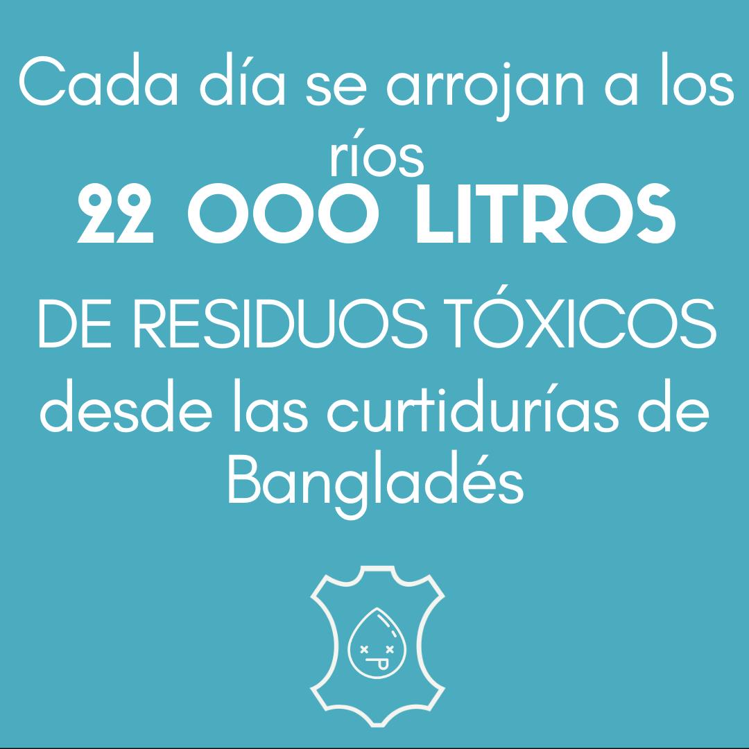 > Cada día se arrojan a los ríos 22 000 LITROS DE RESIDUOS TÓXICOS desde las curtidurías de Bangladés.