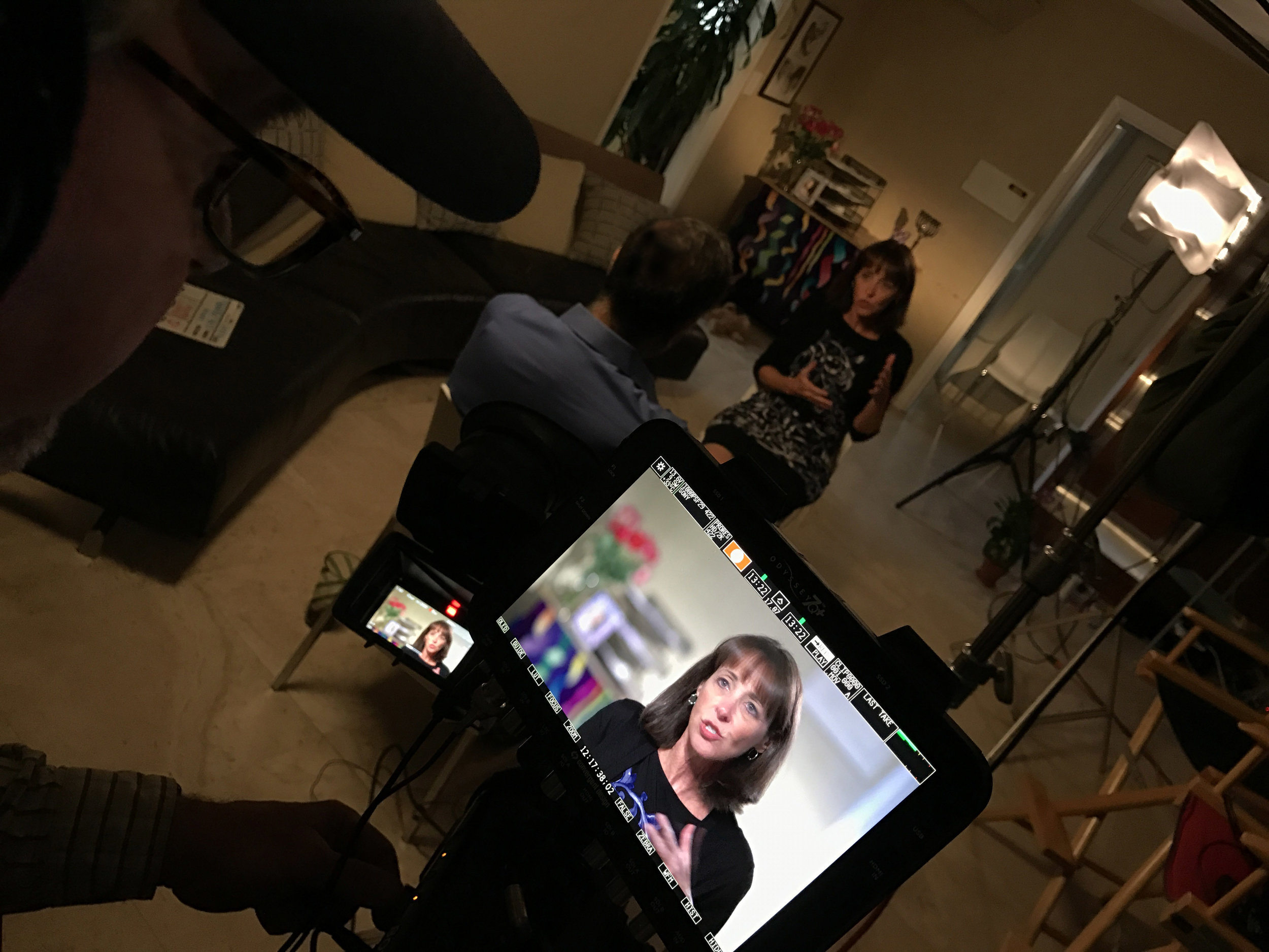 Senior Executive Producer Dr. Mindy S. Hersh, being interviewed about her role as the former Director of Academic Enrichment for the  University of Miami, George Feldenkreis Program in Judaic Studies, Holocaust Survivors Student Internship Program.