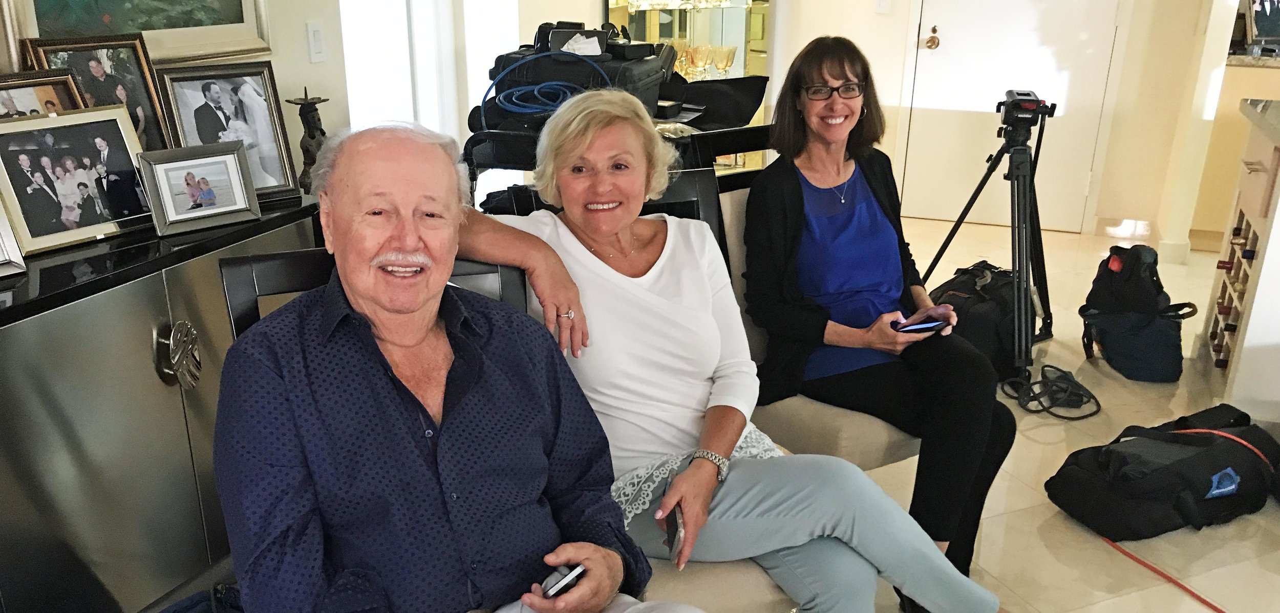 "Survivor Fred Mulbauer, Elaine Brown and Mindy Hersh ""on set"" during Jackie's interview."