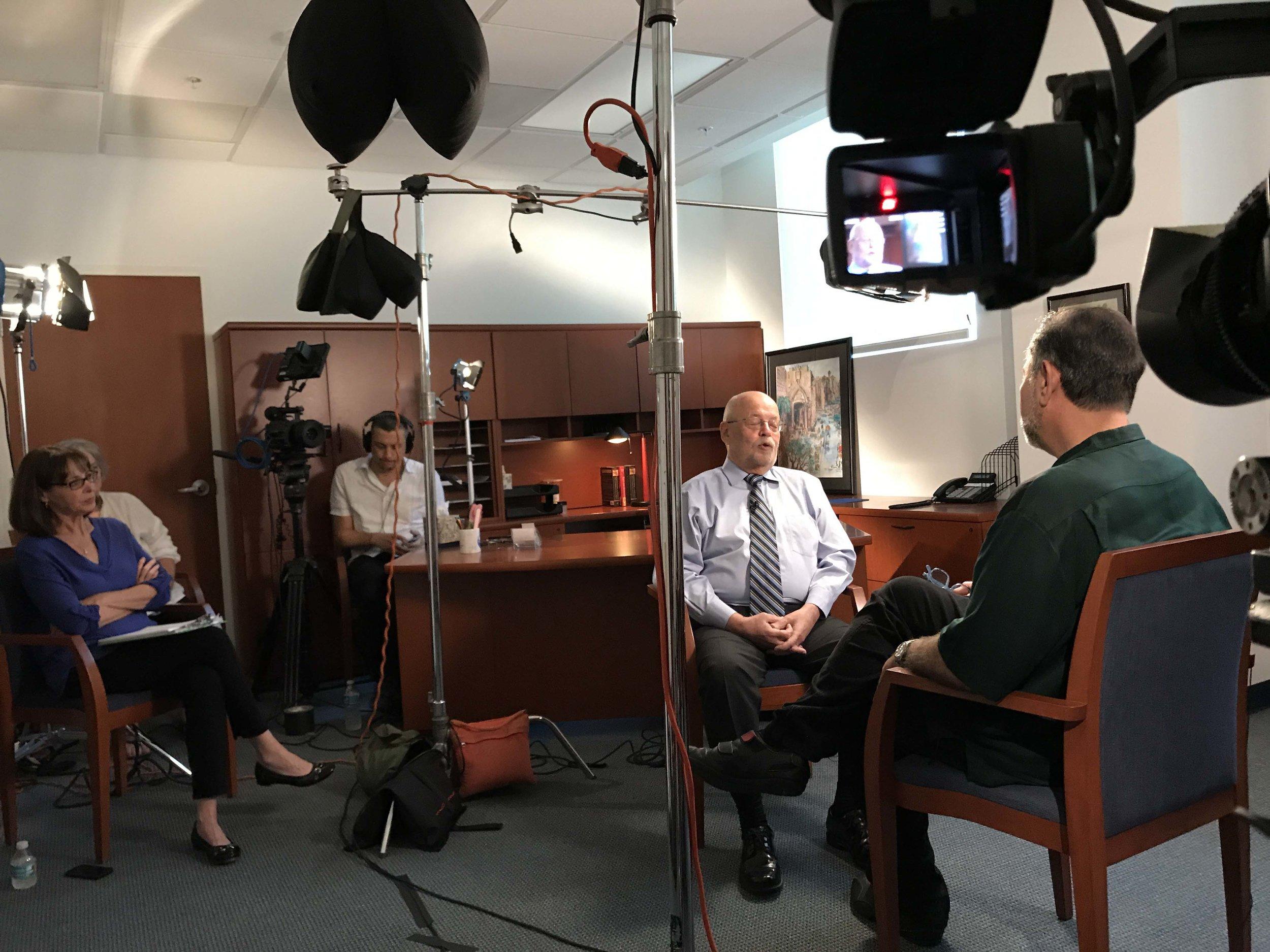 Senior Executive Producer Mindy Hersh, Camera Operator Michael Behar, Professor Haim Shaked.