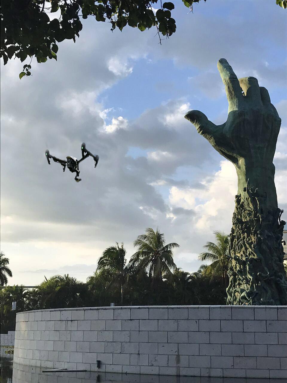 Our drone orbiting architect Ken Treister's landmark sculpture.