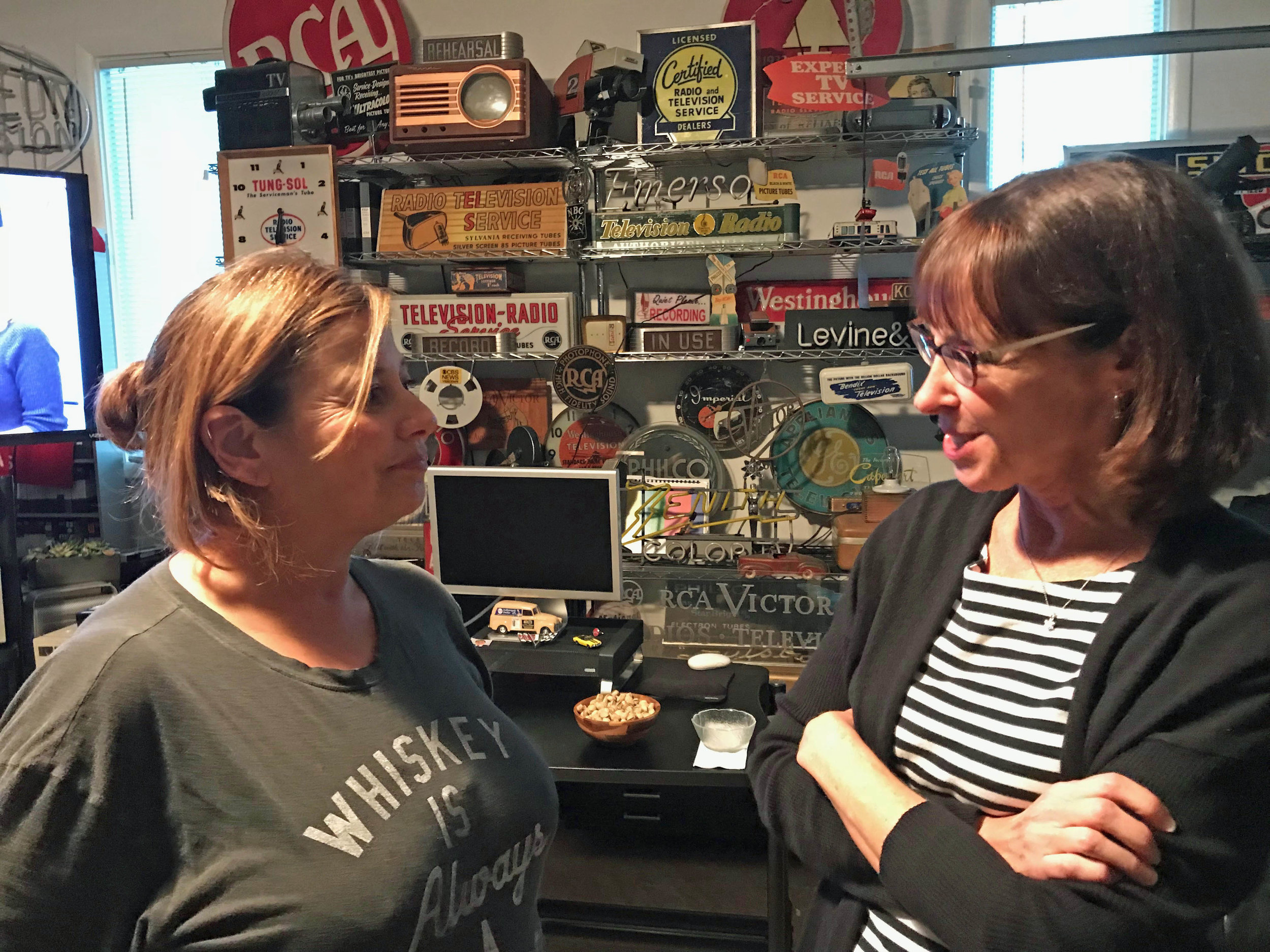 Geri and Mindy discussing the edit schedule for the remainder of the 2017 calendar year