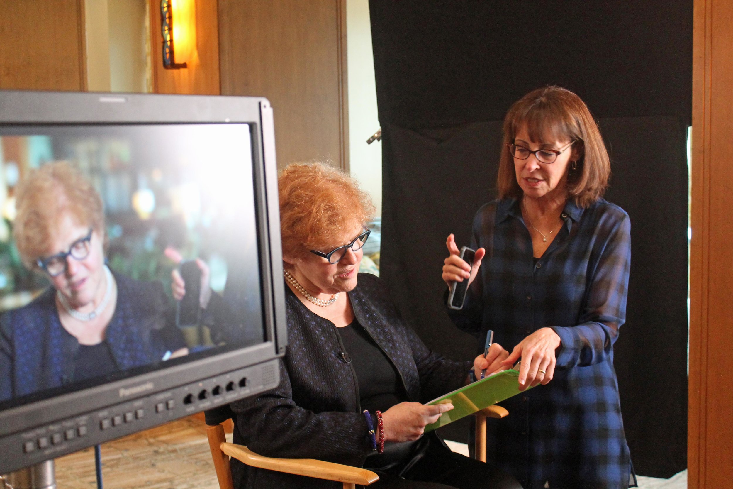 Senior Executive Producer Dr. Mindy Hersh with Professor Deborah Lipstadt before her interview.