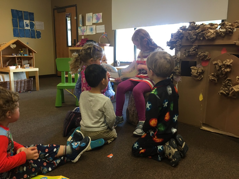 """2nd a 3rd Grade """"Principals"""" read to preschool classes"""
