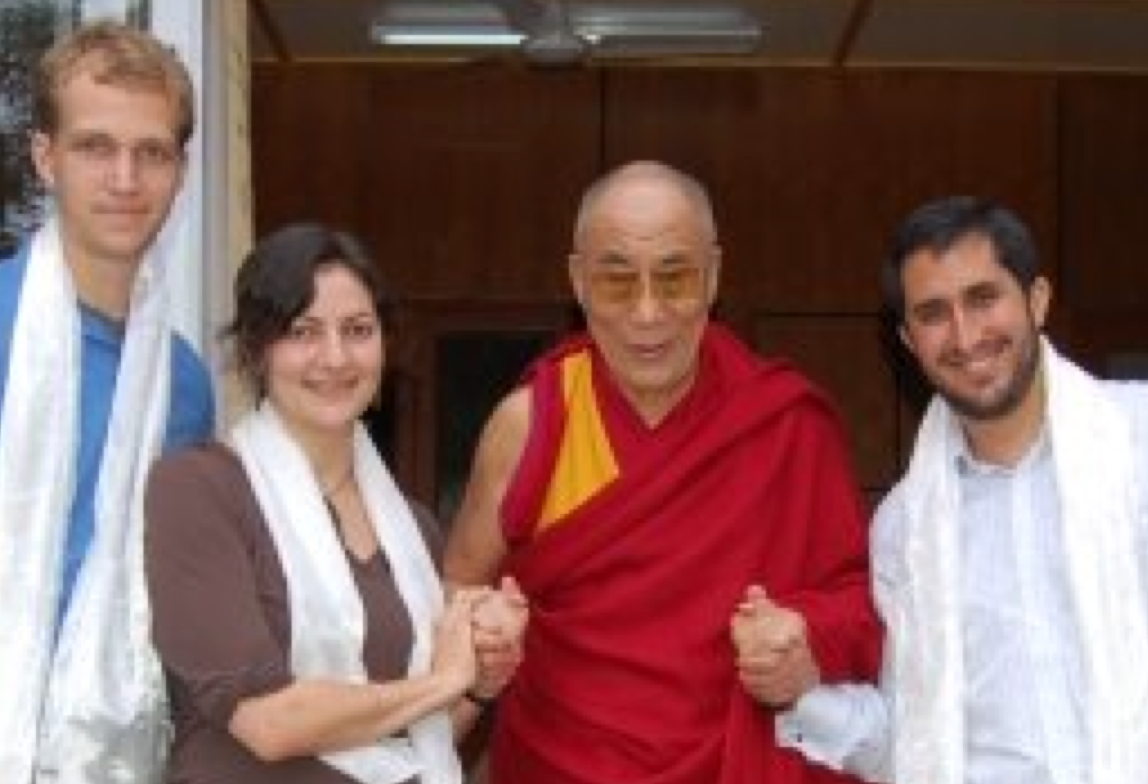 Joe Mellin (Pracademy team member), Sarah Stein Greenberg (executive director of the Stanford d.school), and Fede Lozano (Pracademy founder) with His Holiness the Dalai Lama at his home in Dharamsala in 2008