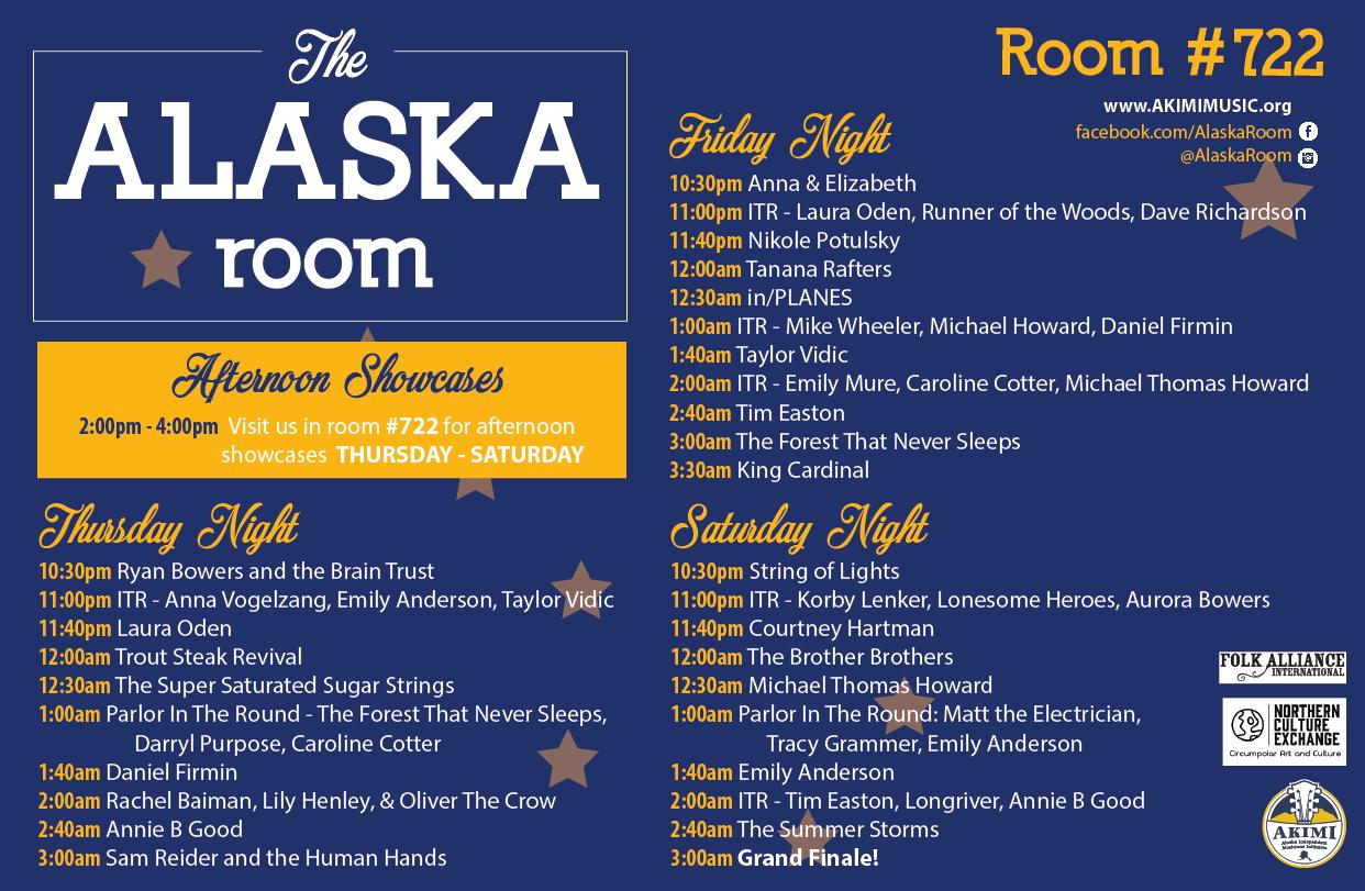 2018 Alaska Room Evening Showcase Schedule