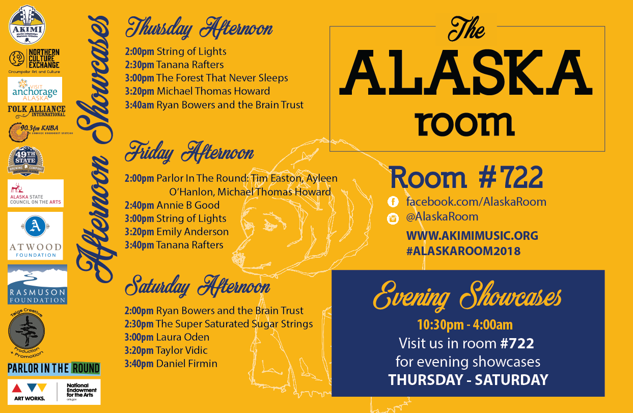 2018 Alaska Room Afternoon Showcase Schedule