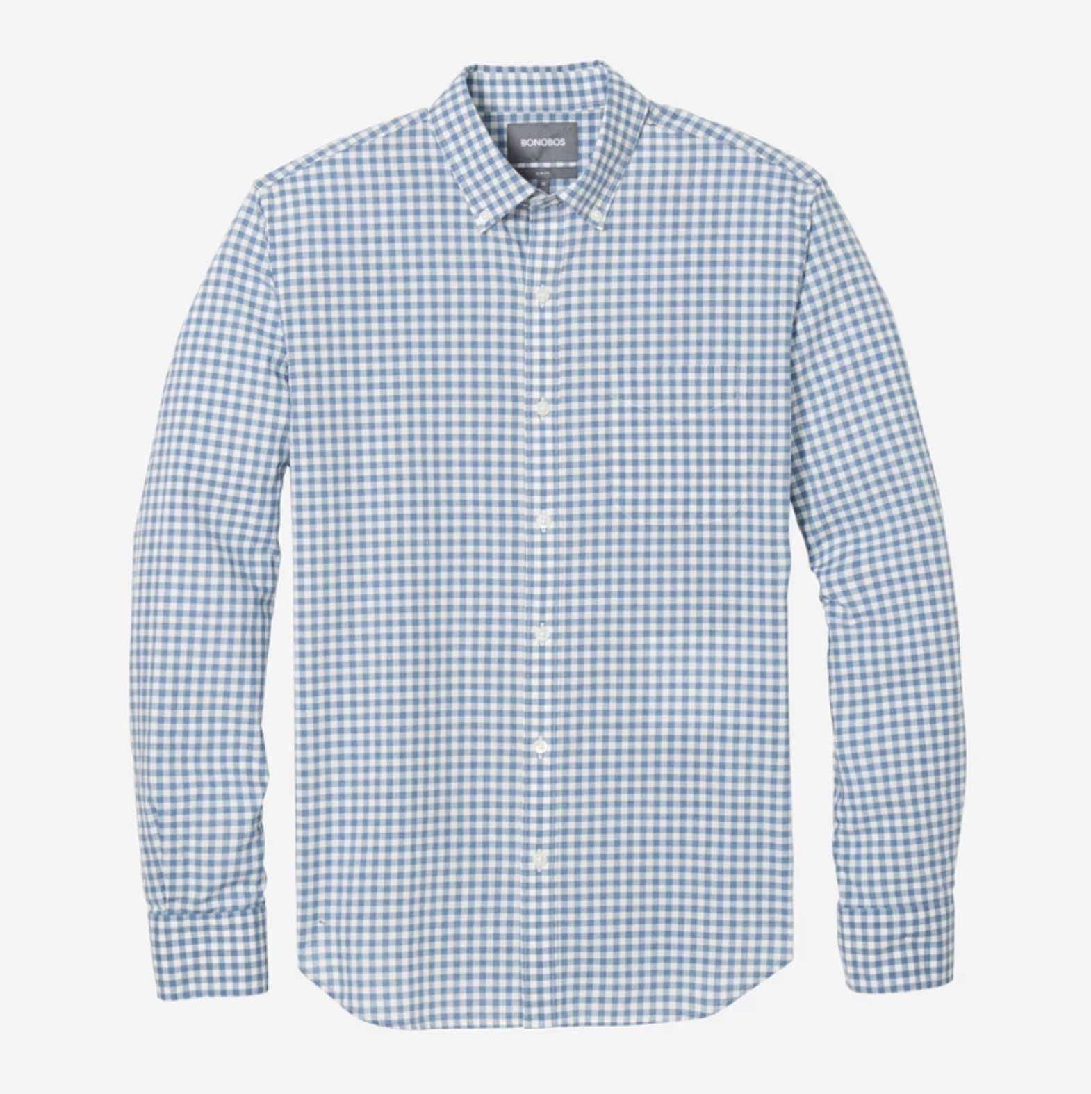 Dress to impress in this blue gingham shirt, perfect for any business casual workplace. Practically everyone in the office has this shirt, so there's no way Jared the admin will assume that paper bag you're holding is his Sweetgreen quinoa bowl, again.