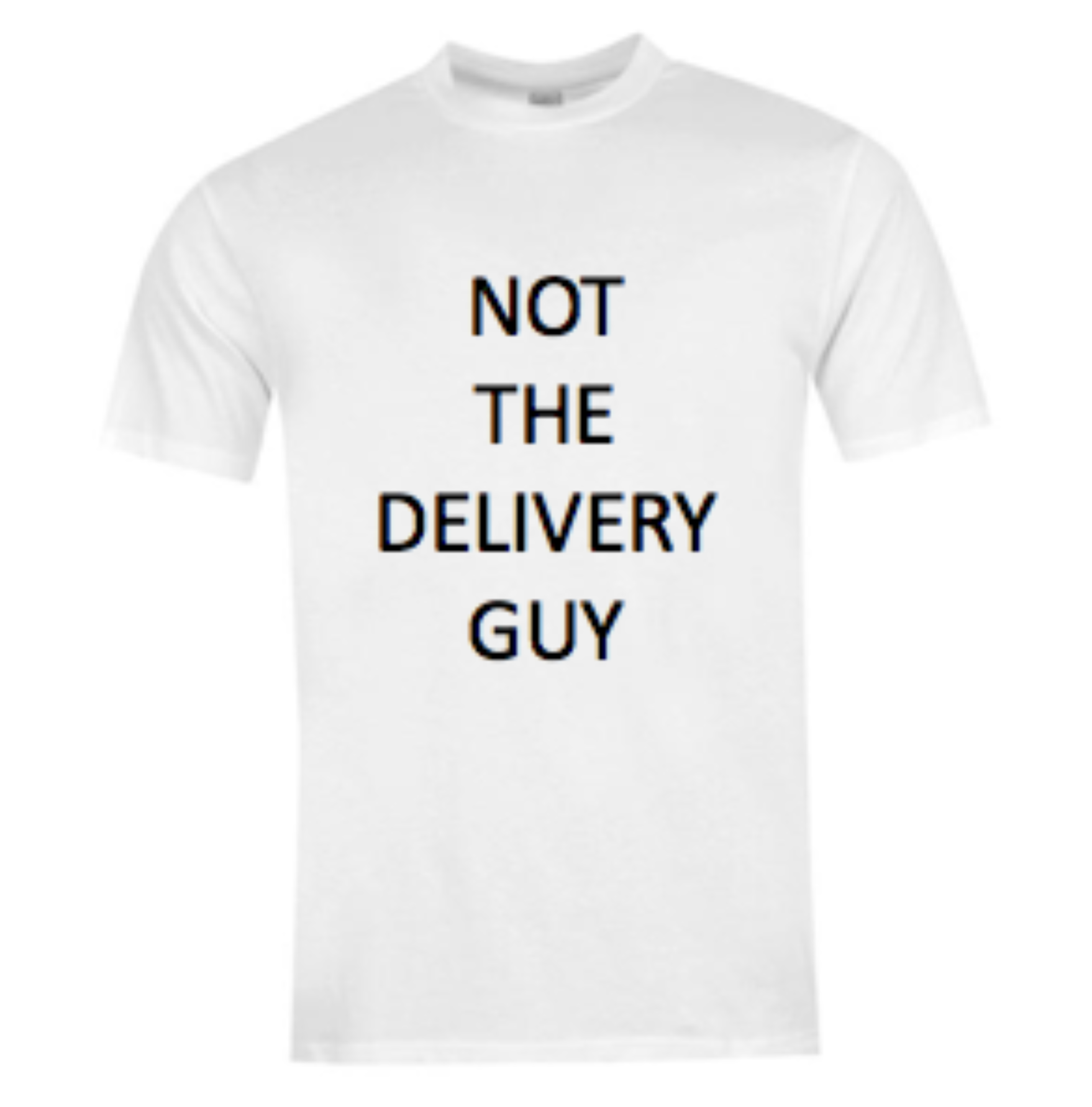 "Make Summer Fridays count with this minimalist graphic-tee that'll tell all your co-workers you're not the delivery guy, with the message ""Not The Delivery Guy""."