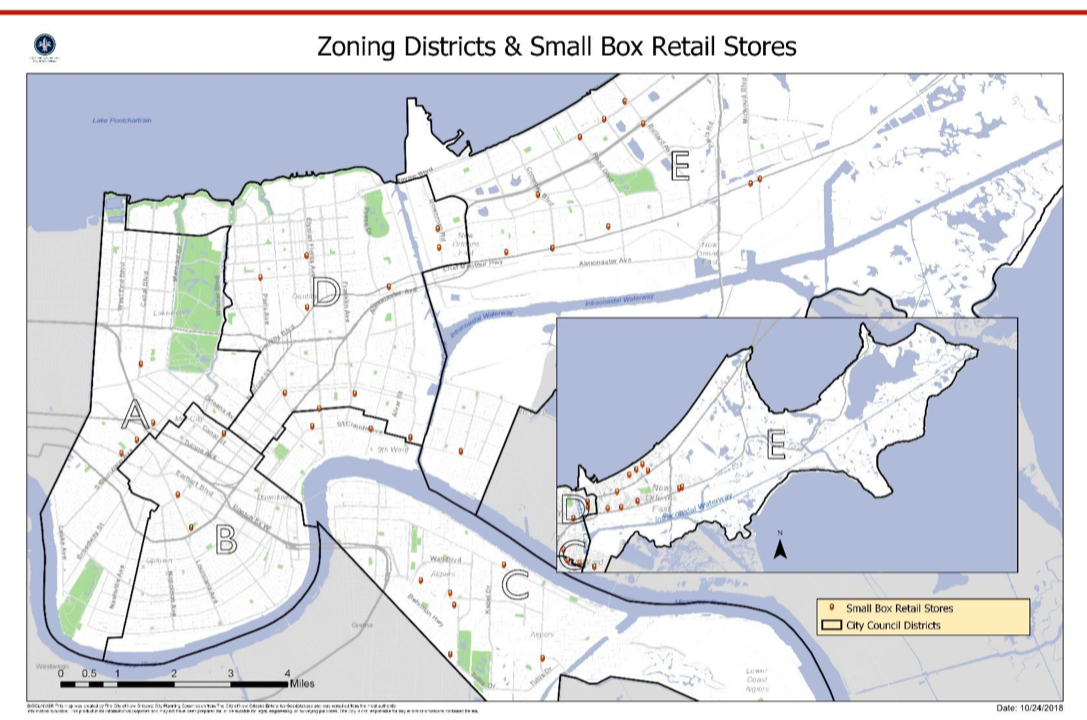 Of the 36 dollar stores - found in New Orleans when planners began to consider imposing distance limits between new stores, more than half were located in Districts C and E combined—9 in District C and 11 in District E.