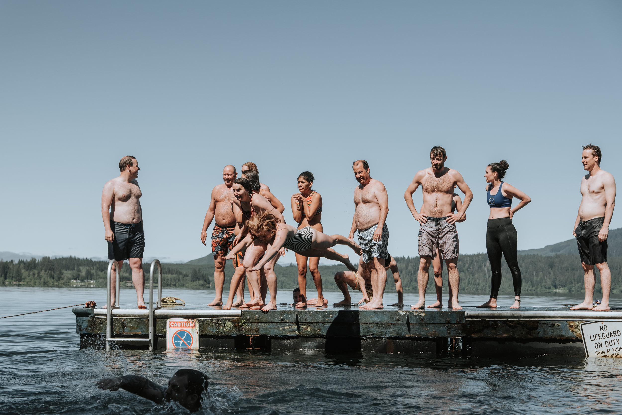 Guests take the polar plunge the morning of the wedding. Photo by Logan Smith Photography.