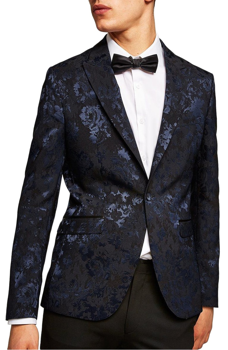 Skinny Fit Floral Jacquard Suit Jacket, $260, Topman,  Nordstrom
