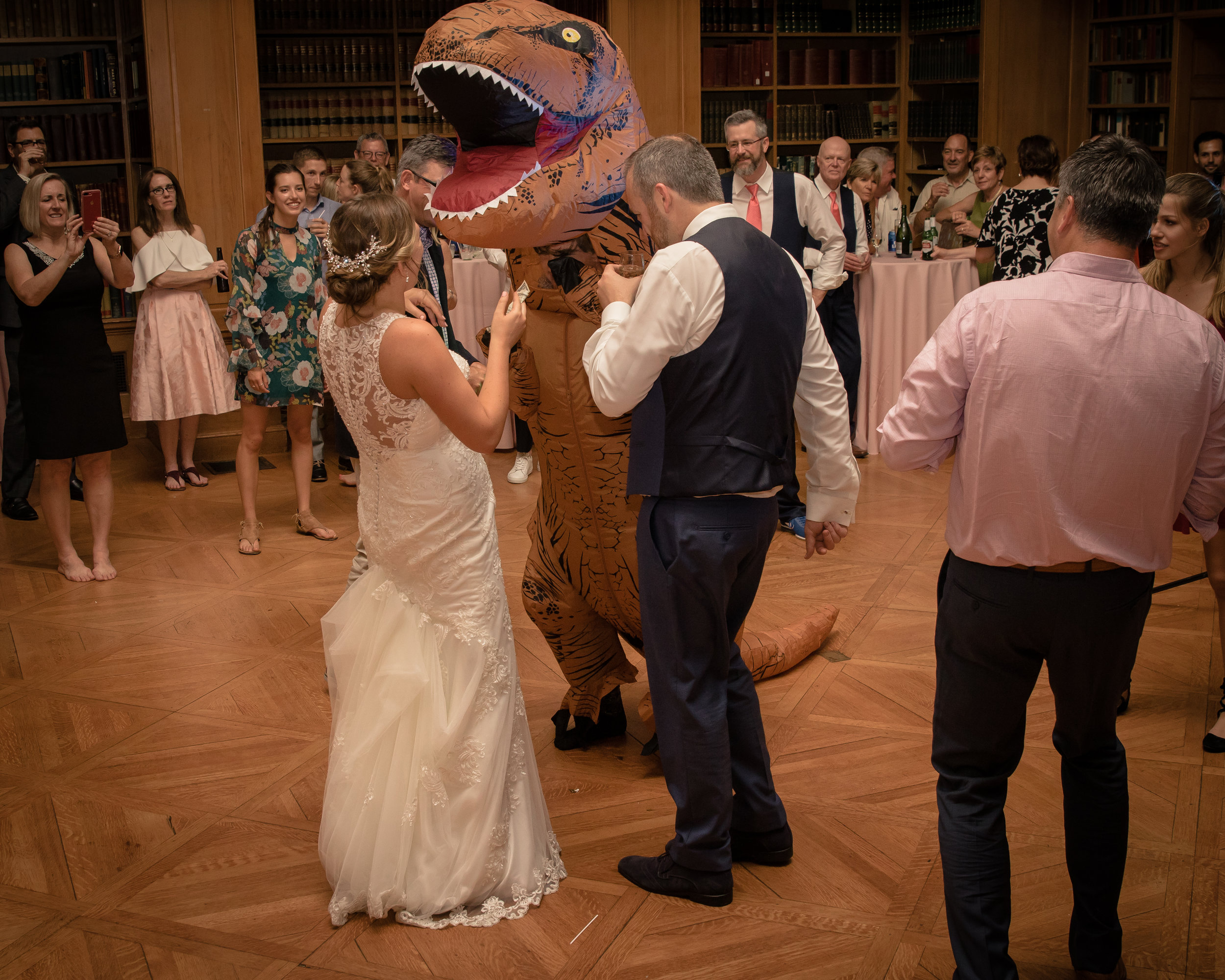 Morgan & Cole - Monticello, IllinoisVenue: Allerton ParkPhotographer: J. CaughronVibe: VintageBest part of our wedding? First look or the dinosaur dance
