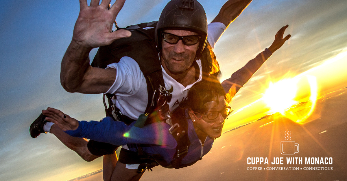 Pictured: Ronnie and a skydiver student 13,000 feet up. Ronnie and I had a Cuppa Joe @Taylor_St Baristas NYC. Ronnie takes his coffee black like Manuka Bay sand.