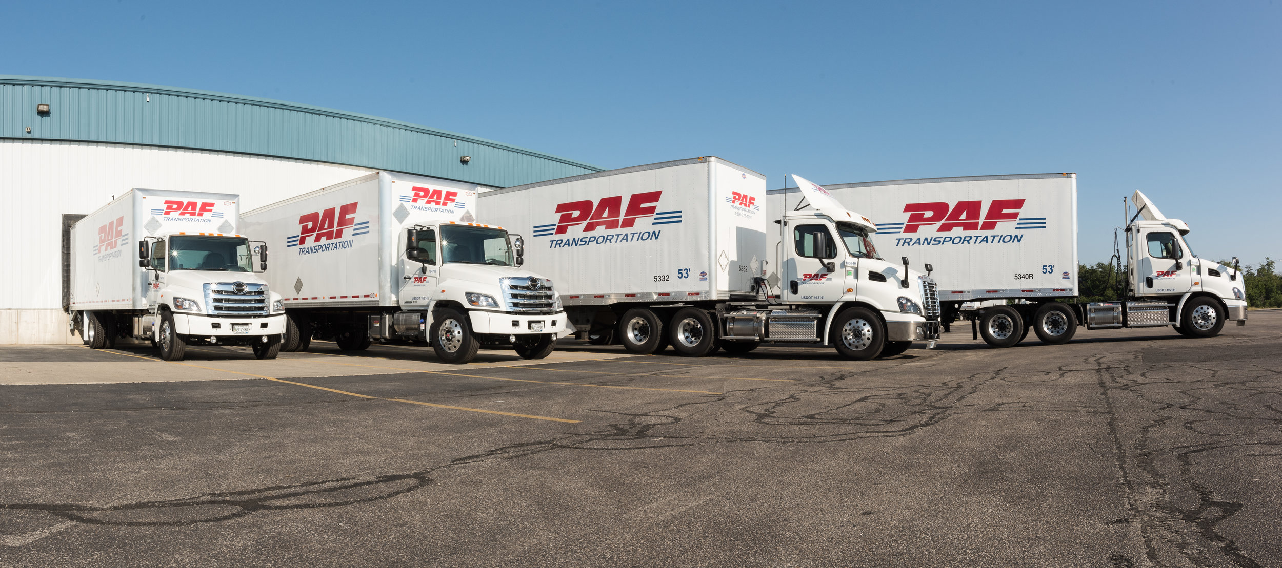PAF Transportation trucks at loading dock