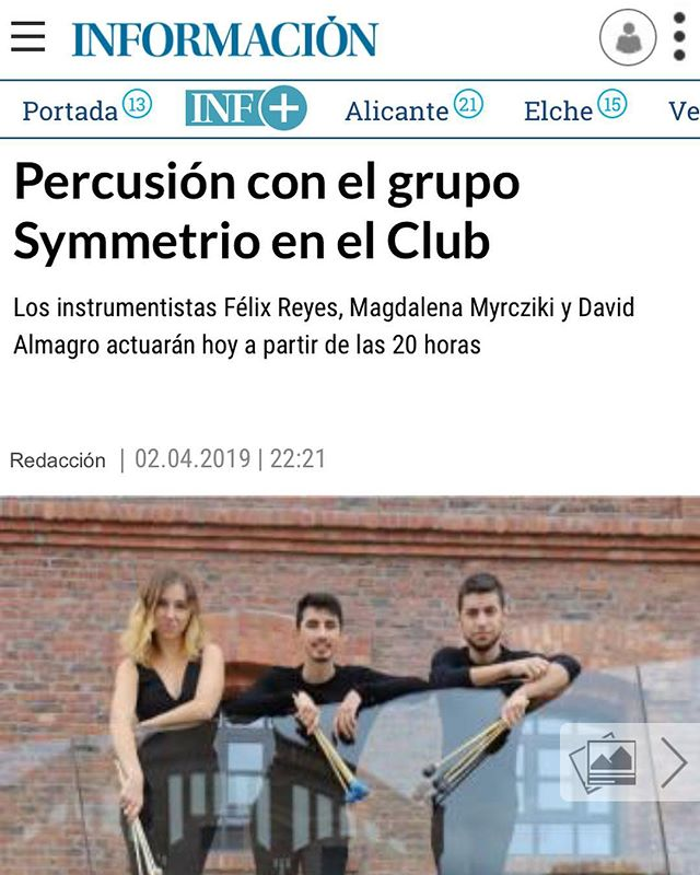 Nice little surprise!! Some local news articles written and advertising about our concerts in Alicante 😊👏 Links shared below!  https://www.diarioinformacion.com/cultura/2019/04/03/percusion-grupo-symmetrio-club/2134871.html  https://torreviejaradio.com/time-for-percussion-el-proximo-30-de-marzo-en-el-palacio-de-la-musica/