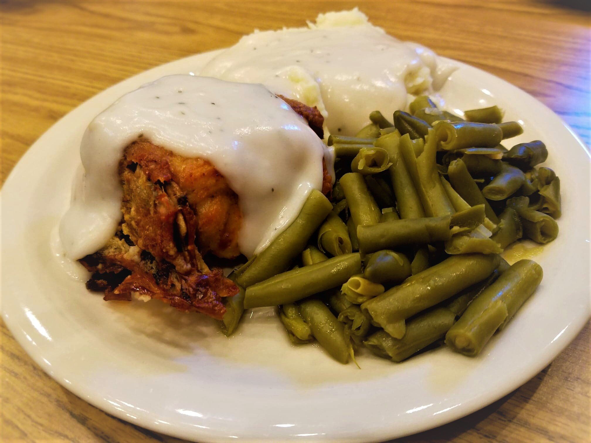 Oven Fried Chicken and Mashed Potatoes in Gravy with Green Beans