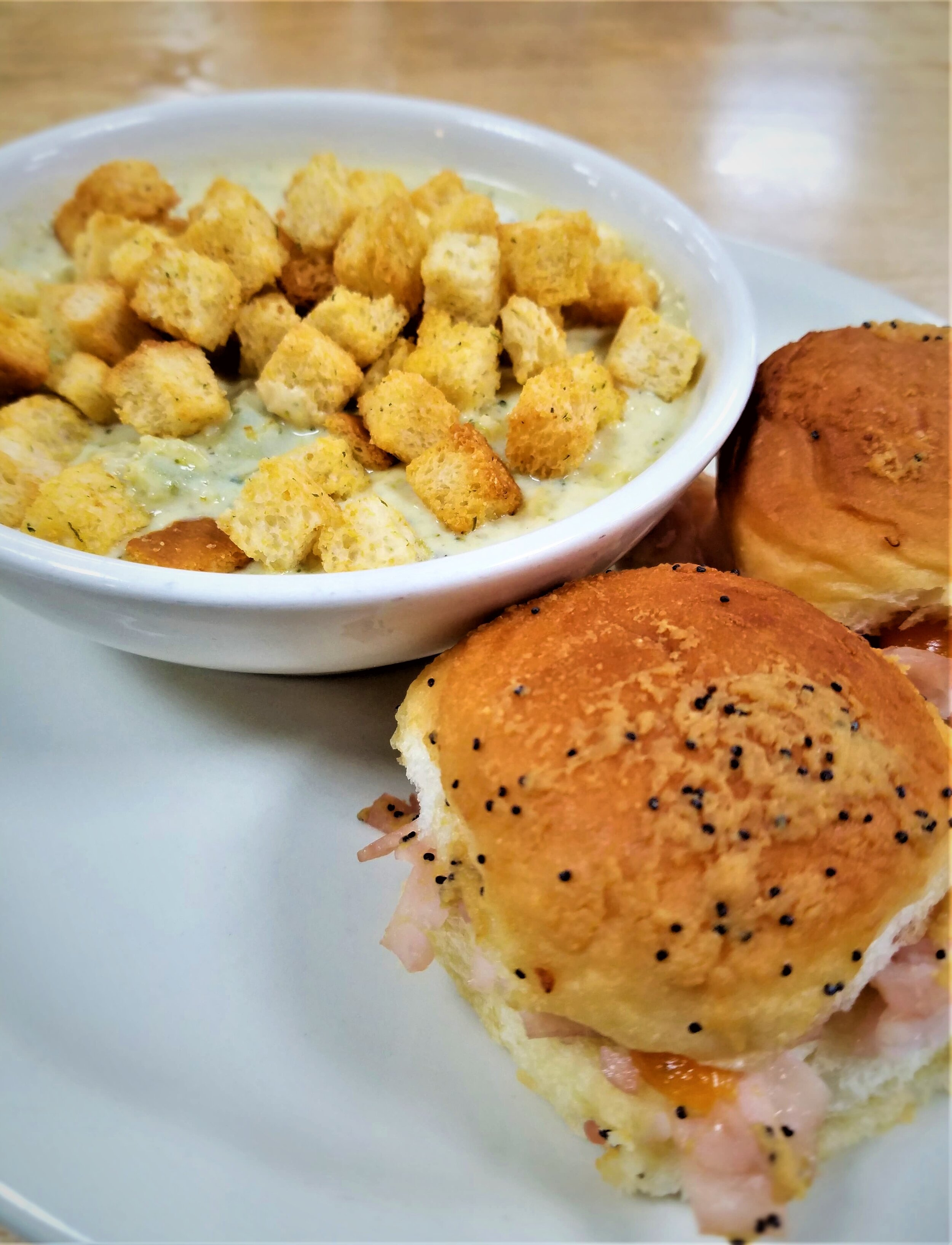 Broccoli Cheddar Soup and Turkey Cheese Sliders