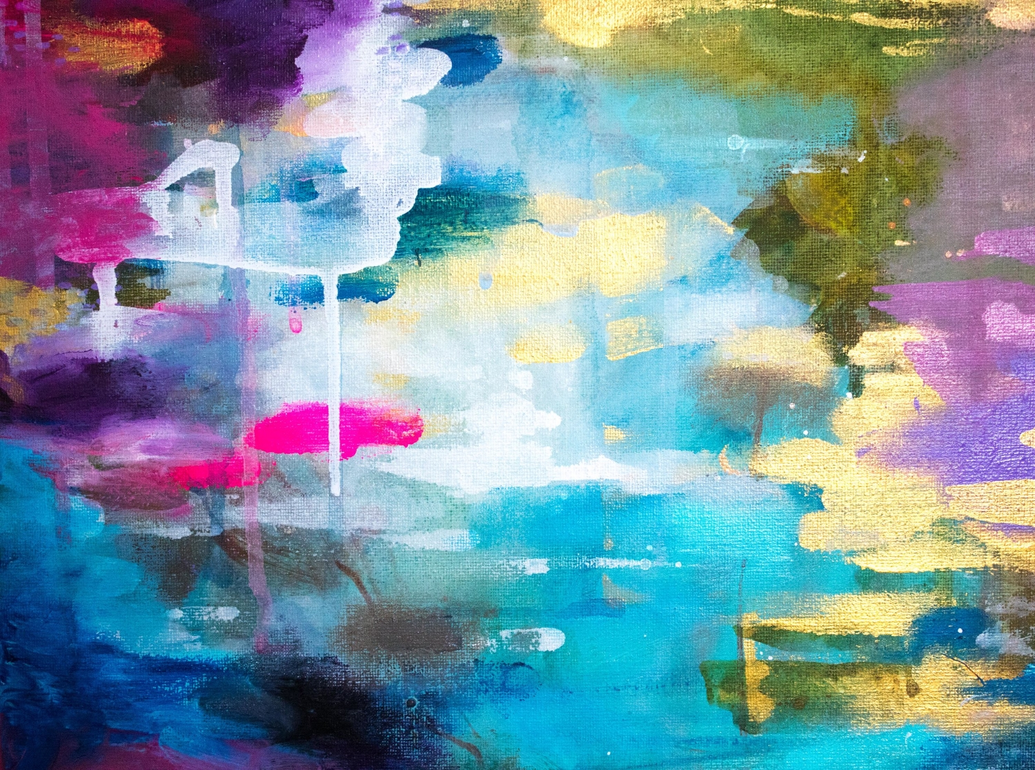 DETAIL SHOT OF NEW PAINTING MIRROR WATER