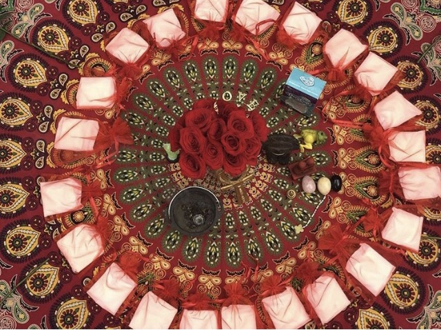 Altar for Red Tent Ritual with Femmenominal Woman.