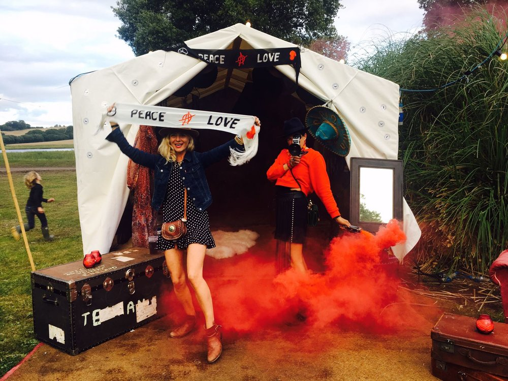 Victoria Grant and I launching the Black Cow Saloon Palace of Portraits at Port Eliot Festival last week.