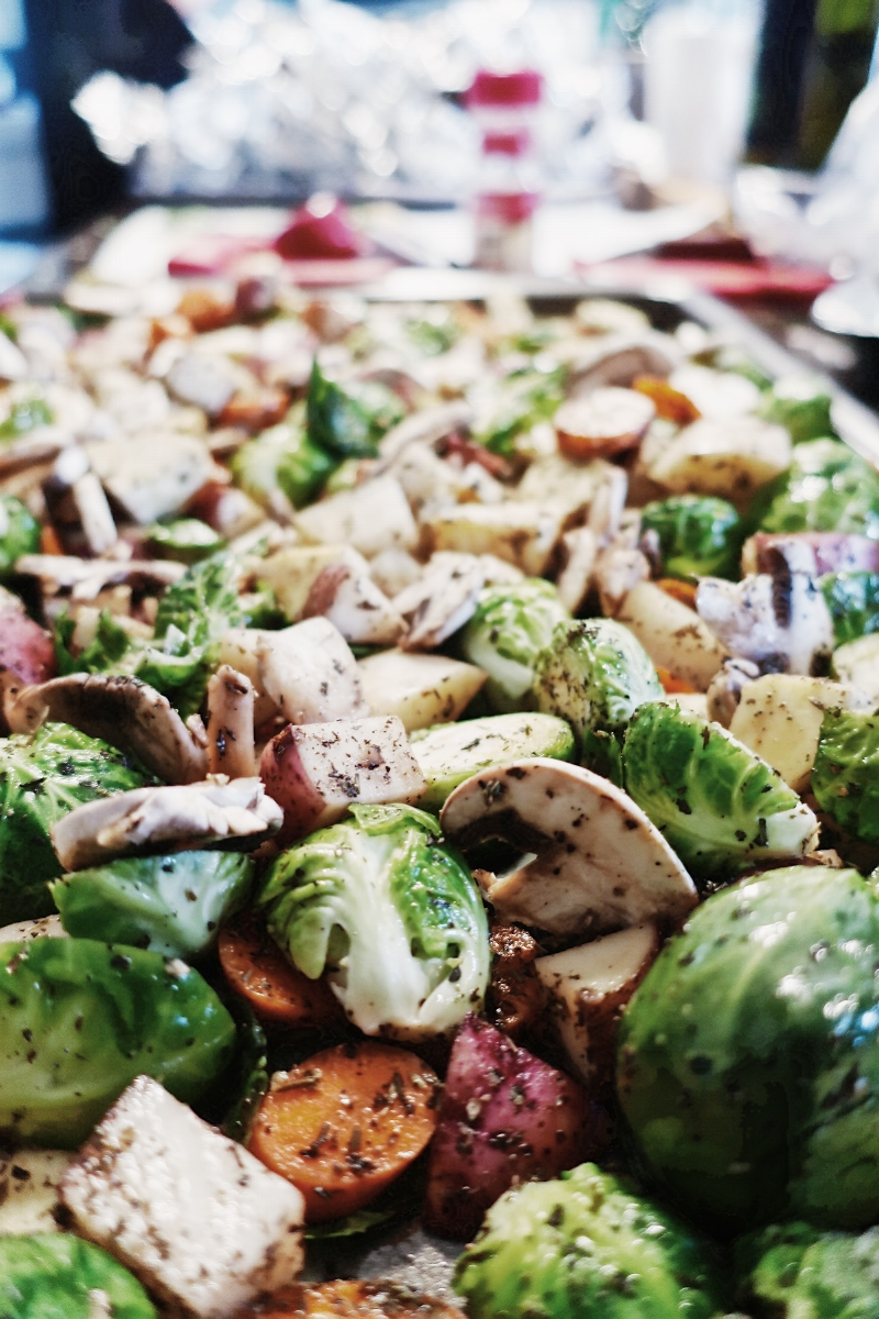 Yup, our family is big on Brussels Sprouts:) My cousin made this delicious roasted medley!