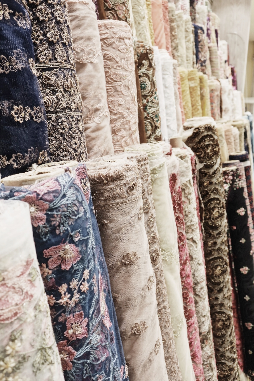 Hand-Woven, Embroidered Chiffon and Silk rolls of fabric at one of the mall shops