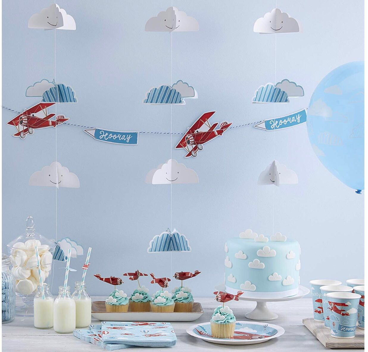 Planes - Our cute aviation themed prodcuts are the perfect decoration for any children's event or birthday celebration!Individual products available for sale include high flying bunting, high qulaity napkins, paper plates and matching cups.
