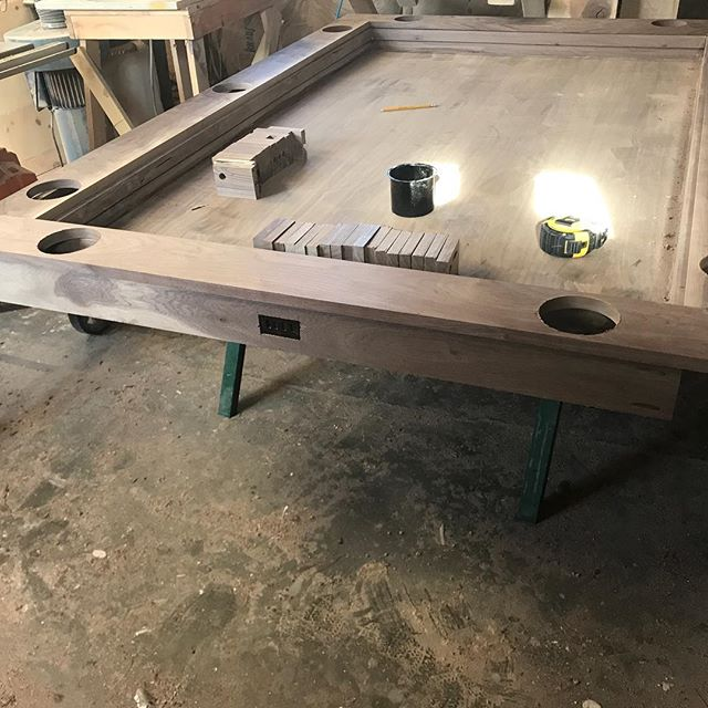 Progress shots of a 3x5 walnut dining table.  Very excited about this new design.  #tabletop #tabletopgaming #woodworking #local #localbusiness #boardgames #newdesign #customfurniture #woodfurniture