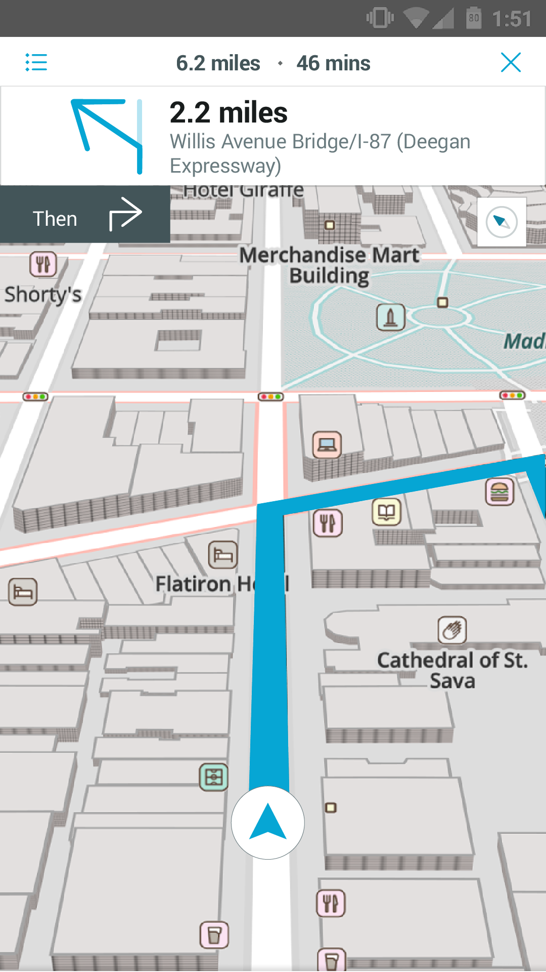 Turn-by-turn navigation - map view