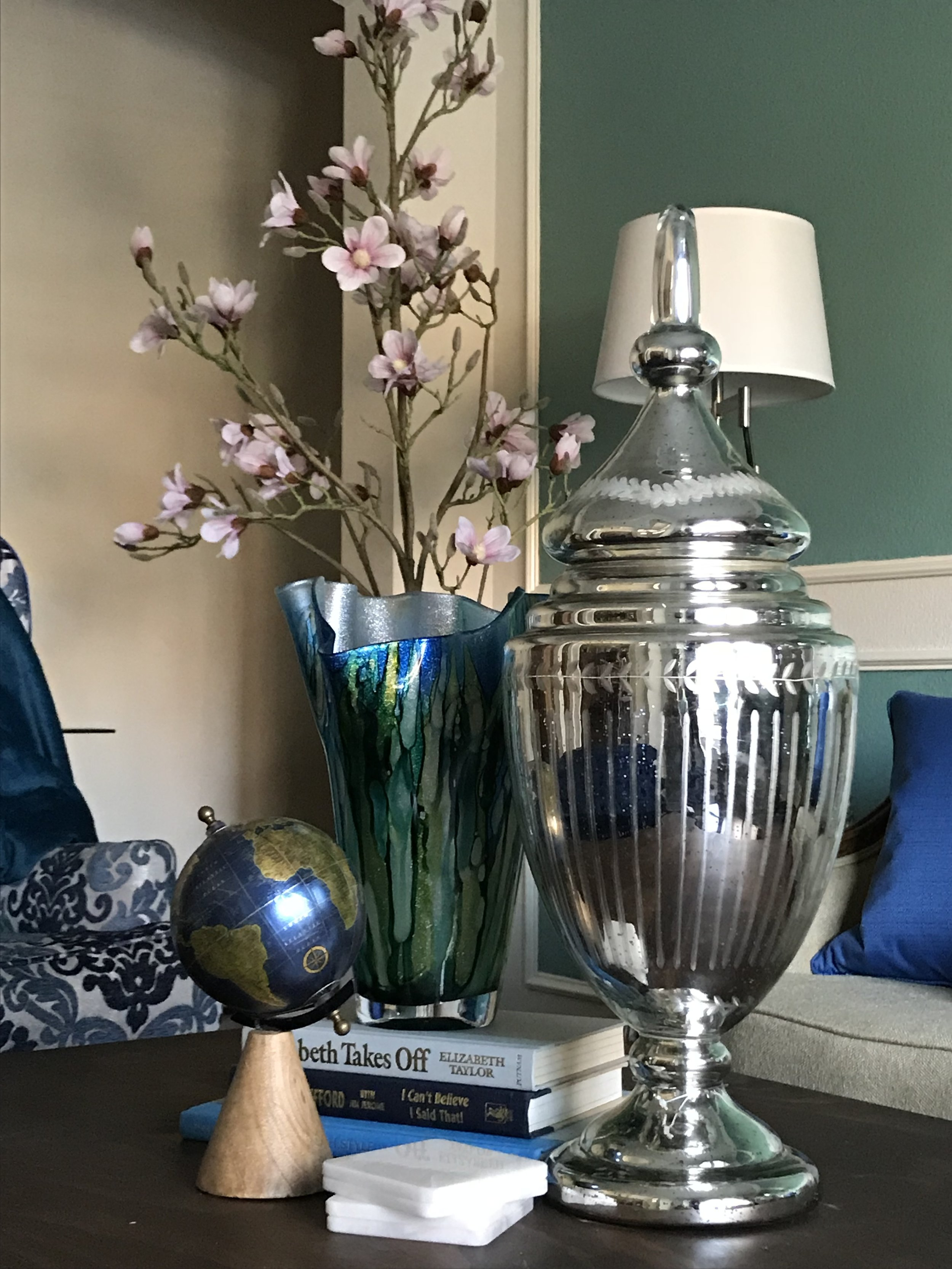 full service Client: formal living room  (check out my blog, glam on a budget!)