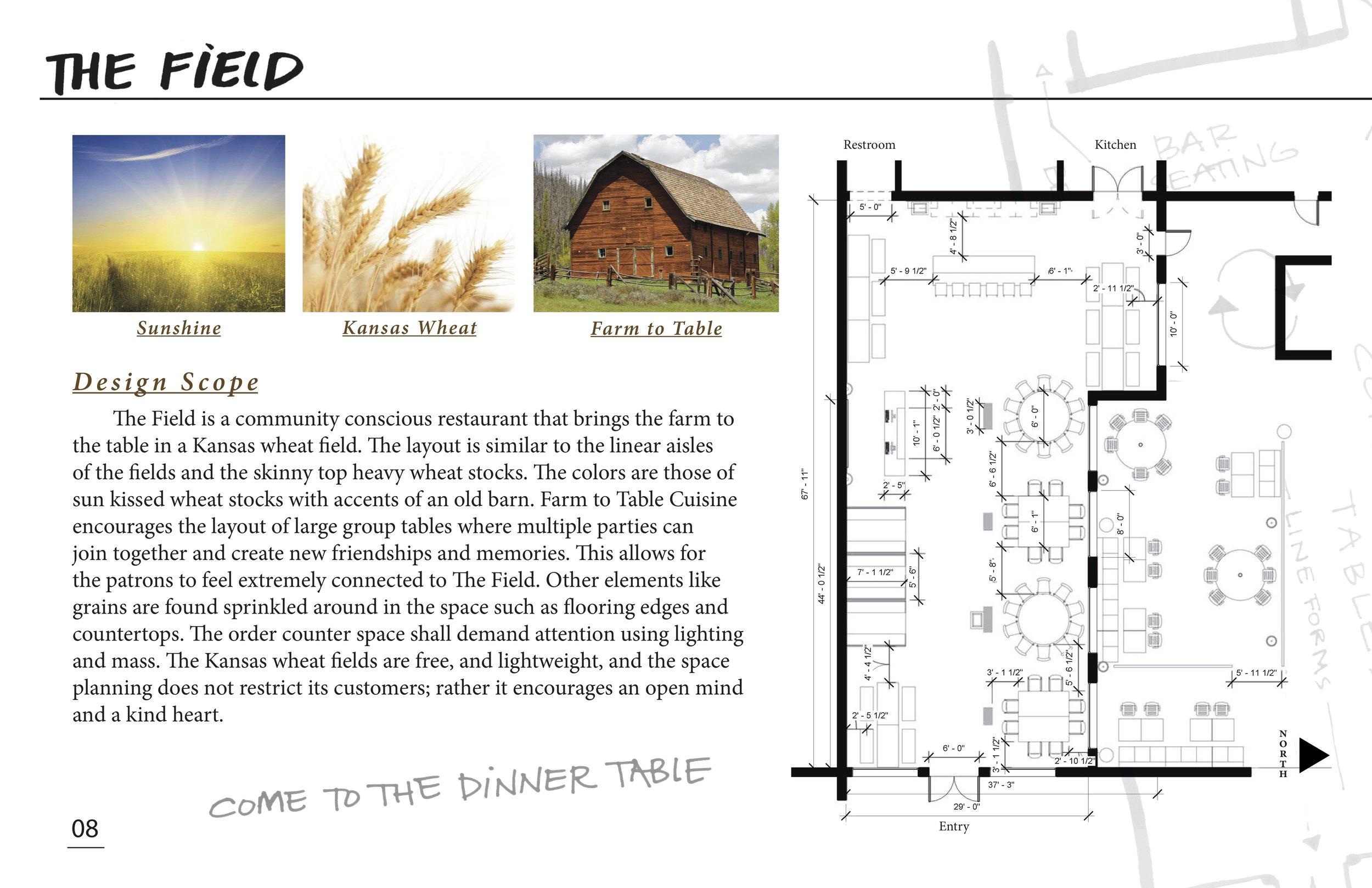 restaurant design presentation: The Feild, a farm to table cusine in a kansas wheat feild!